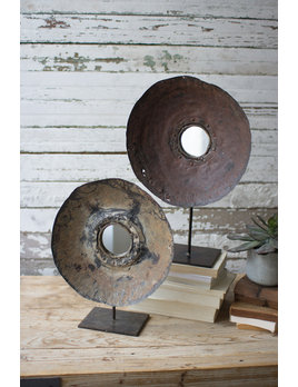 Kalalou Set of 2 Repurposed Metal Mirrors on Stands
