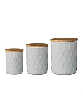 Bloomingville White Stoneware Canisters w/ Bamboo Lids - Set of 3