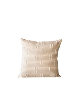 "Bloomingville 18"" Square Woven Cotton Pillow w/ Tassels - Taupe"