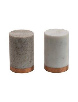 Creative Co-op Marble Salt & Pepper Shakers w/ Copper Base - White & Beige