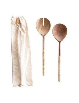 Creative Co-op Wood Salad Servers w/ Bamboo Wrapped Handles