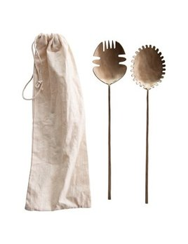 Creative Co-op Hand Forged Brass Salad Servers - Antique Brass Finish