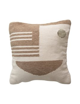 Creative Co-op Woven Cotton & Wool Pillow w/ Geometric Pattern