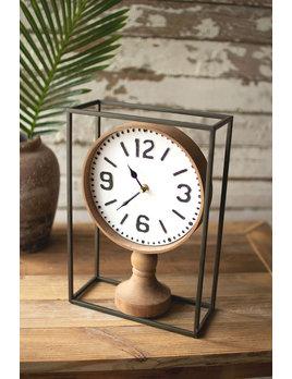 Kalalou Metal Framed Tabletop Wooden Clock