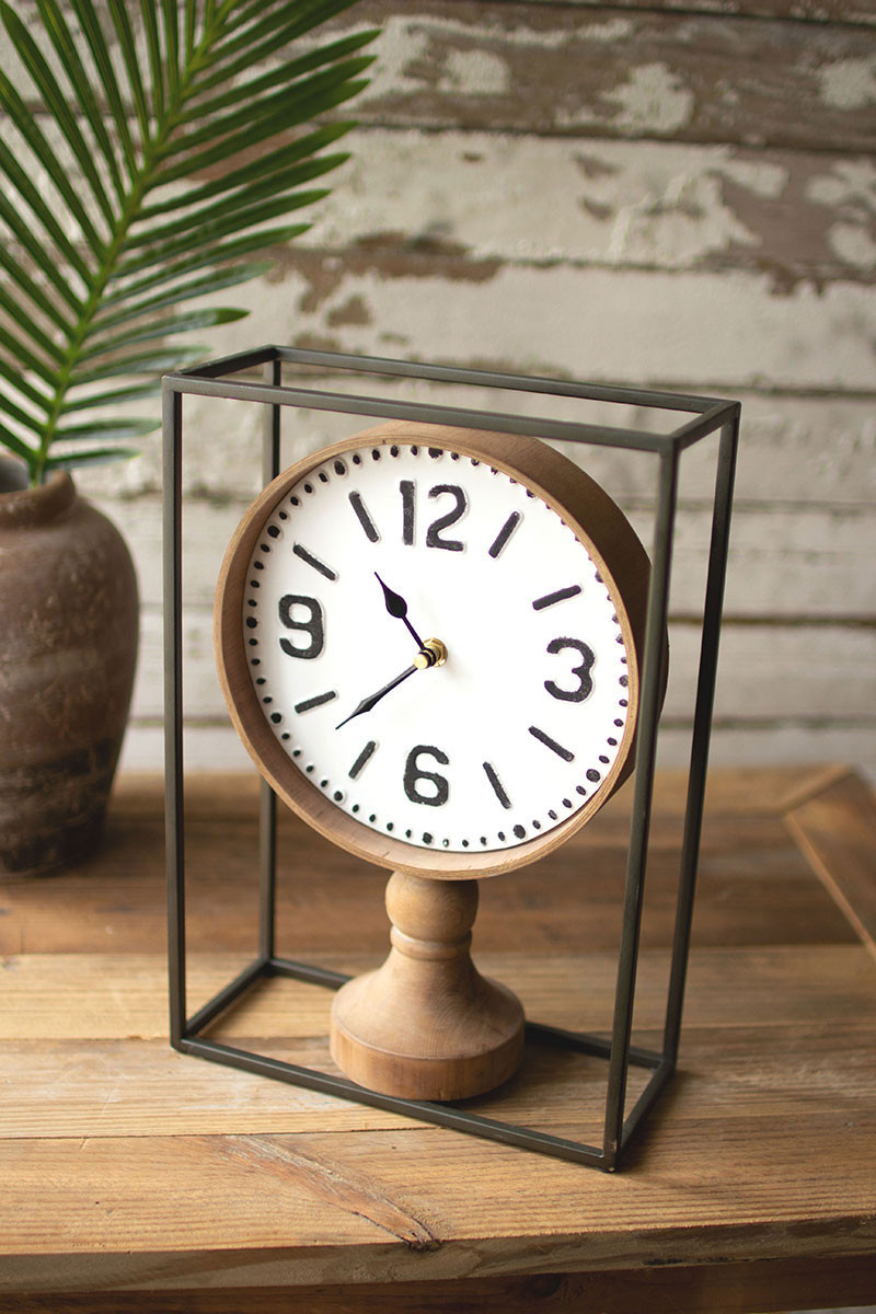 Kalalou Metal Framed Tabletop Wooden Clock