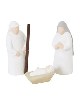 Creative Co-op Handmade Paper Mache Holy Family - Set of 3