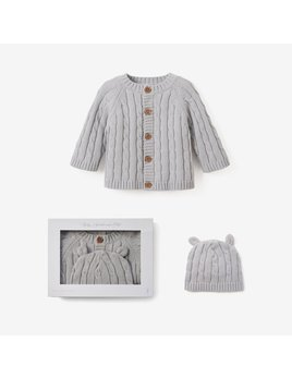 Elegant Baby Boxed Cable Sweater and Hat 6M - Gray