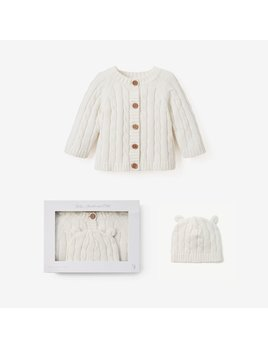Elegant Baby Boxed Cable Sweater and Hat 6M - Cream