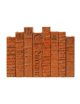 E Lawrence LTD Orange Scripted Parchment Script Cover