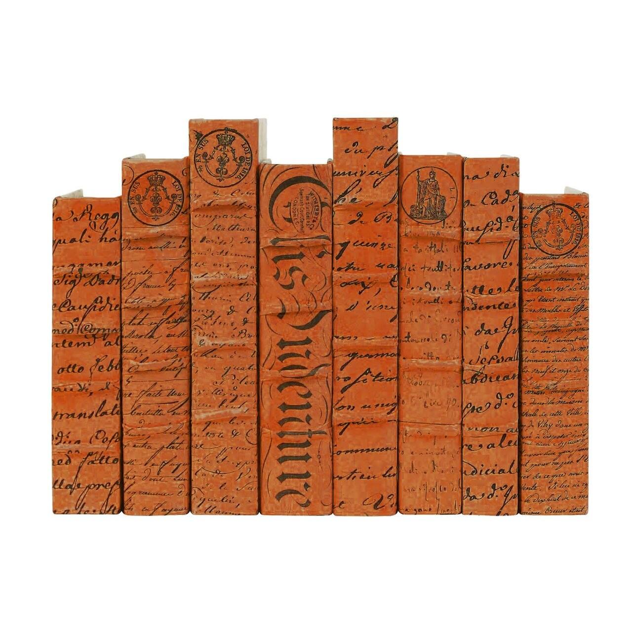 E Lawrence LTD Orange Scripted Parchment Script Cover