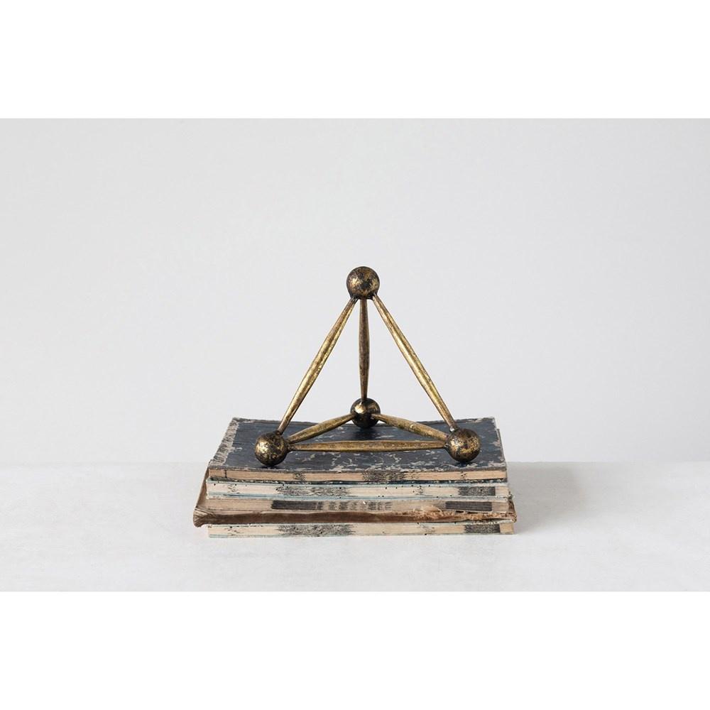 Creative Co-op Metal Obelisk Shaped Decor - Antique Brass Finish