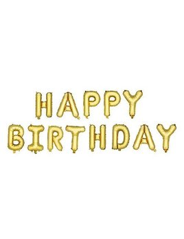 True Gold HAPPY BIRTHDAY Mylar Balloon