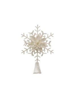 Creative Co-op White Glitter Snowflake Tree Topper