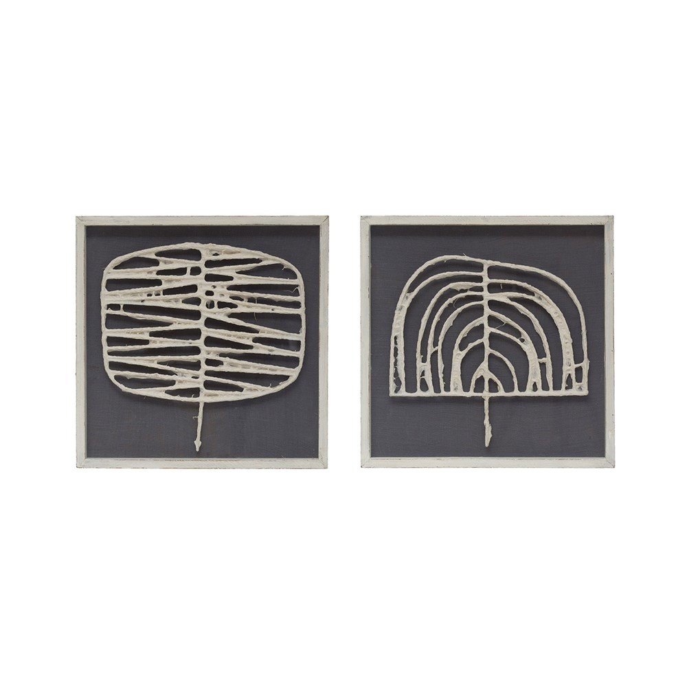 Creative Co-op Square Wood Framed Handmade Paper Wall Decor - Navy & White