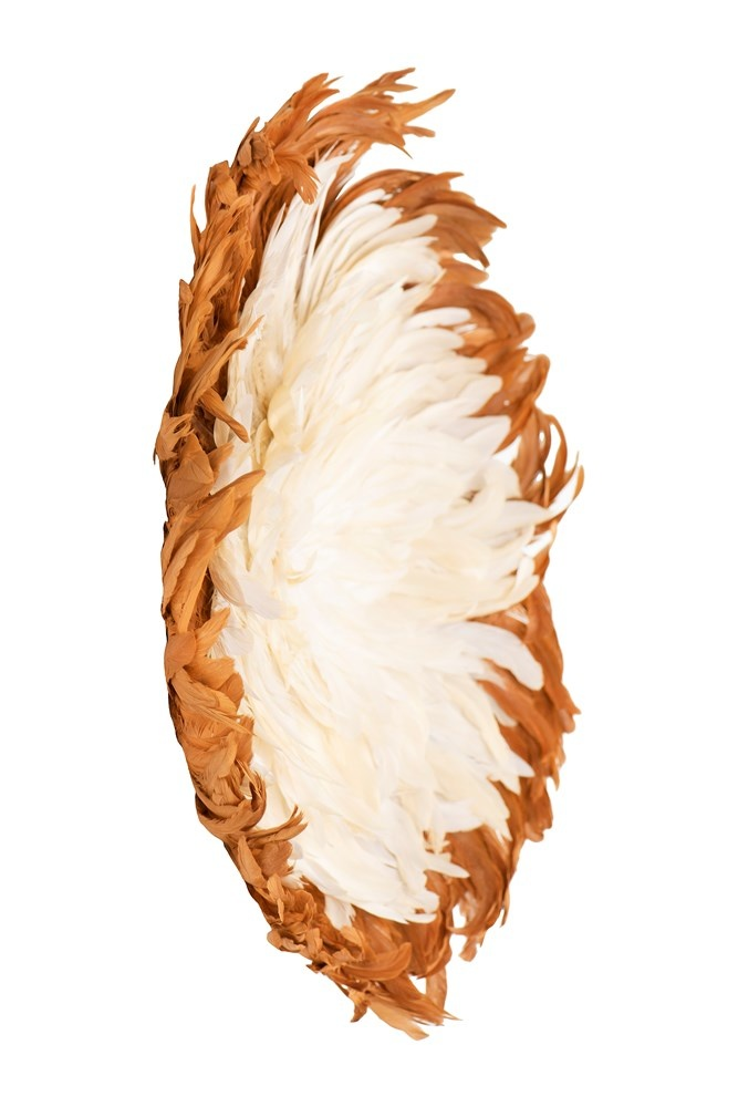Creative Co-op Round Two Tone Feather Wall Decor