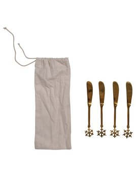 Creative Co-op Brass Canape Knife w/ Snowflake Handle