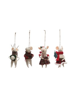 Creative Co-op Wool Felt Mouse Ornament in Outfit