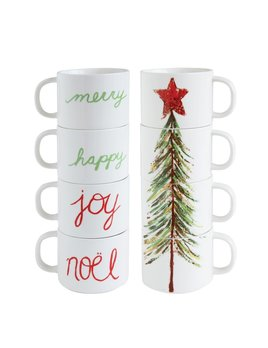Creative Co-op Stoneware Stacked Mugs - Christmas Tree & Words - Set of 4
