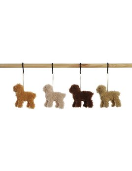 Creative Co-op Furry Poodle Ornament