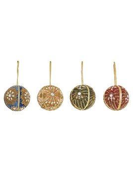 Creative Co-op Fabric & Ribbon Embroidered Ball Ornament