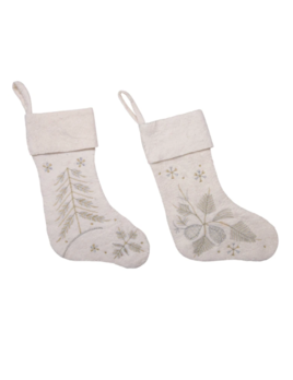 Creative Co-op Wool Felt Stocking w/ Gold/Silver Embroidery