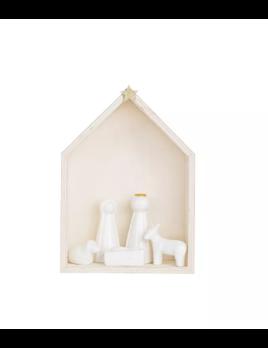 Creative Co-op White Wood & Ceramic Nativity - Set of 6