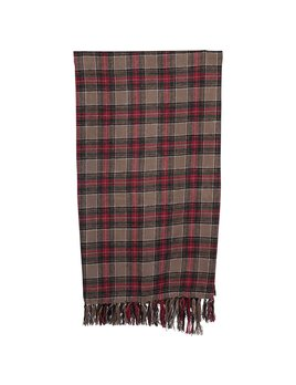 Creative Co-op Brushed Cotton Throw w/ Fringe, Red & Green Plaid