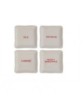 Creative Co-op Square Ceramic Plate w/ Holiday Saying