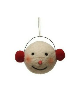 Creative Co-op Wool Felt Snowman Head w/ Earmuffs Ornament