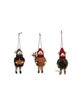 Creative Co-op Wool Felt Mouse Ornament in Outfit & Hat