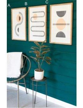 Kalalou Linear Abstract Prints Under Glass