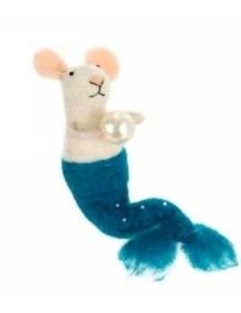 Indaba Mermaid Mouse Ornament - Teal