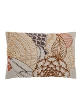 Bloomingville Cotton Lumbar Pillow w/ Embroidery - Multi Color