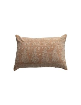 Bloomingville Cotton Velvet Embroidered Lumbar Pillow - Ivory Color