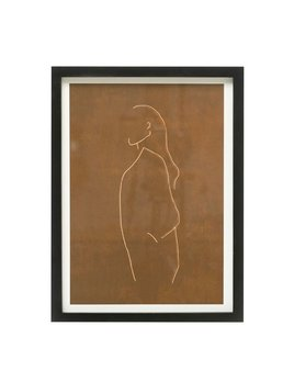 Bloomingville Wood Framed Glass Wall Decor w/ Abstract Figure - Brown