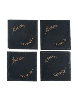 True Rustic Holiday: Gilded Slate Coaster Set
