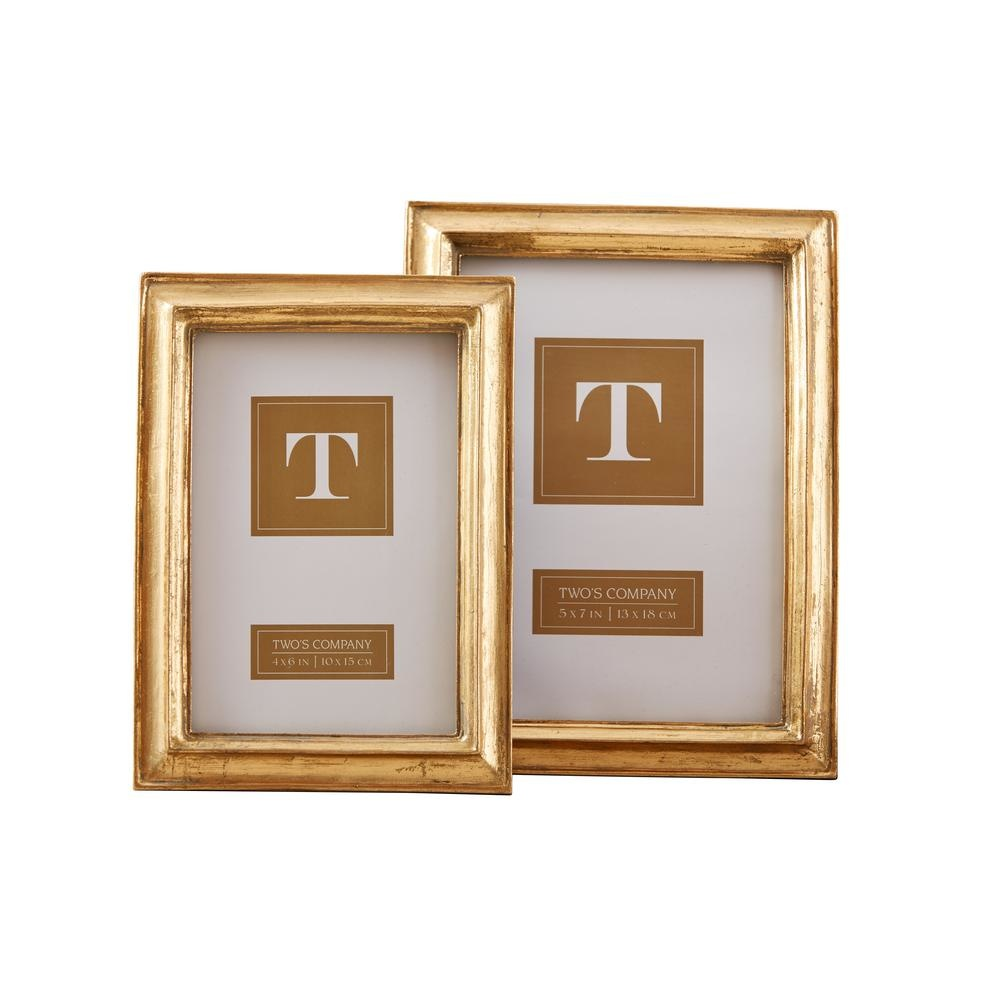 Two's Company Gold Leaf Photo Frames
