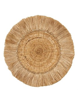 "Bloomingville 28"" Round Hand Woven Rattan & Abaca Wall Decor w/ Fringe - Natural"