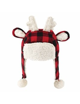 Mudpie Buffalo Check Reindeer Hat