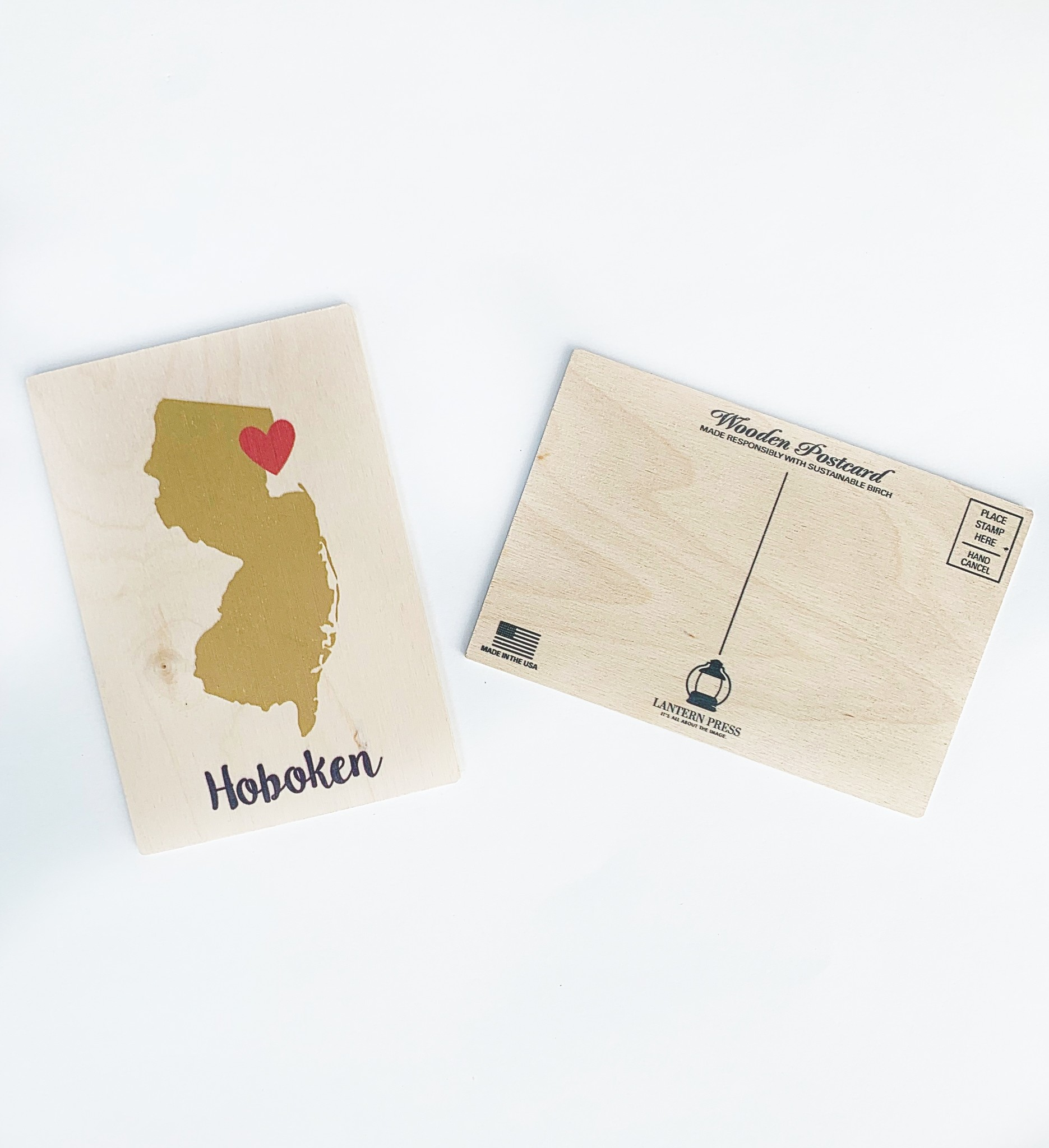 Lantern Press Hoboken State Outline & Heart (Gold & Red) 4x6 Wooden Postcard