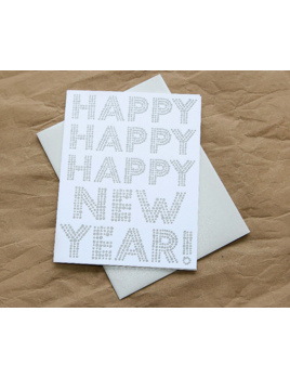 Hudson Paperie Happy Happy Happy  New Year Card