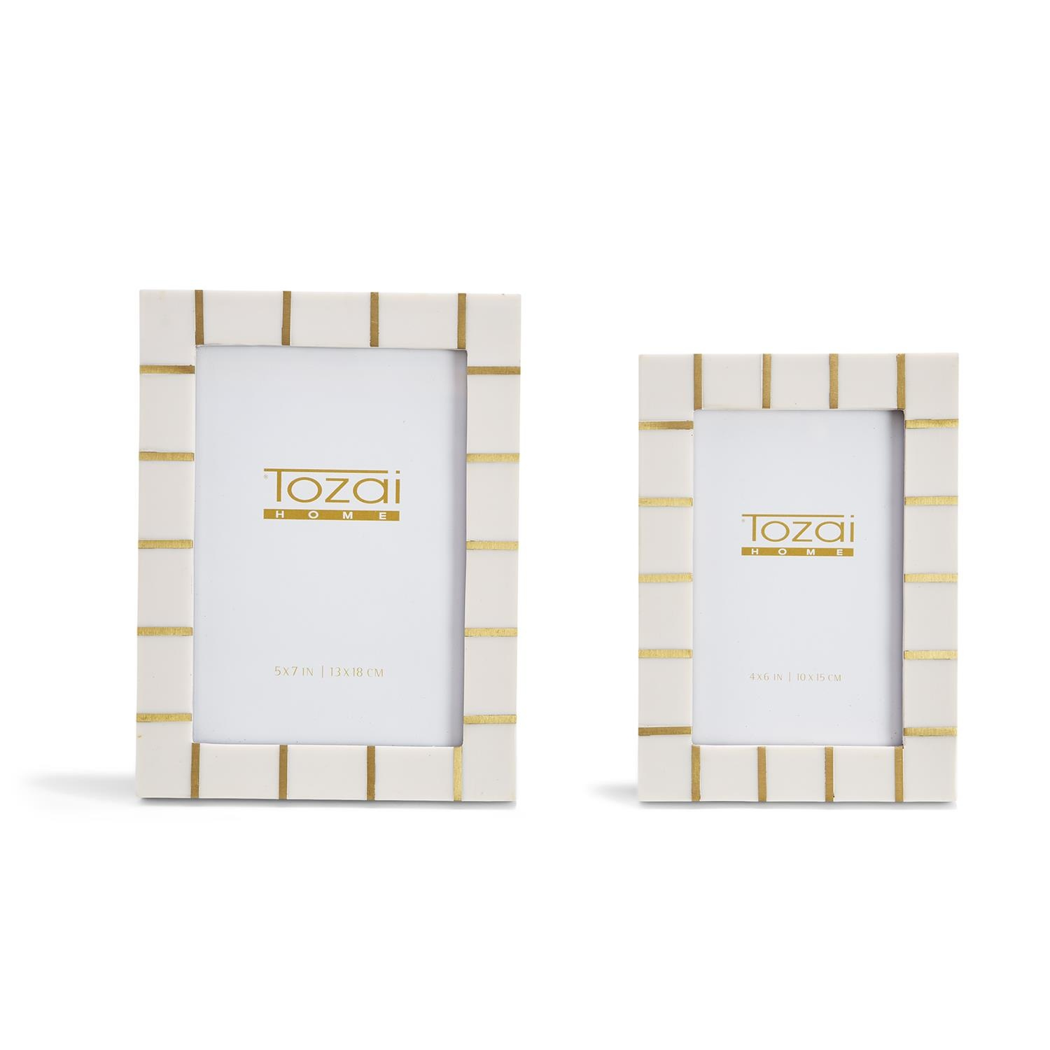 Two's Company Brass Lines Photo Frames