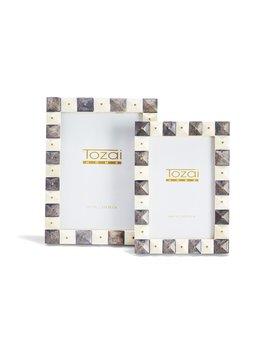 Two's Company Pyramid Gray and White Photo Frames