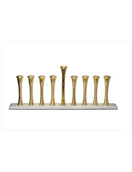 Classic Touch Gold Menorah on Marble Base