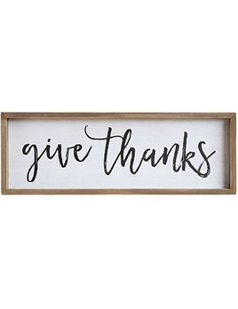 "Creative Co-op Wood Framed Wall Decor ""Give Thanks"""