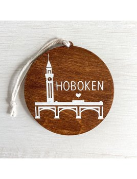 Home Town Hello Hoboken Clock Tower Wooden Ornament