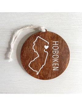 Home Town Hello NJ State Outline Wooden Ornament