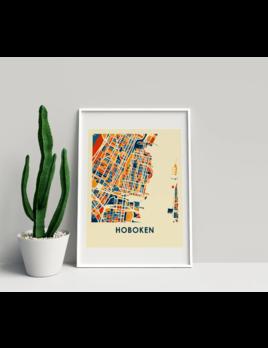 """ILIKEMAPS 11x14"""" Prussian Hoboken Map Print - Chroma Style"""