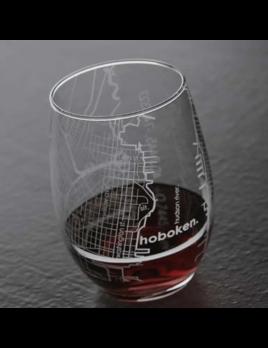 Well Told Hoboken NJ Map Stemless Wine Glass