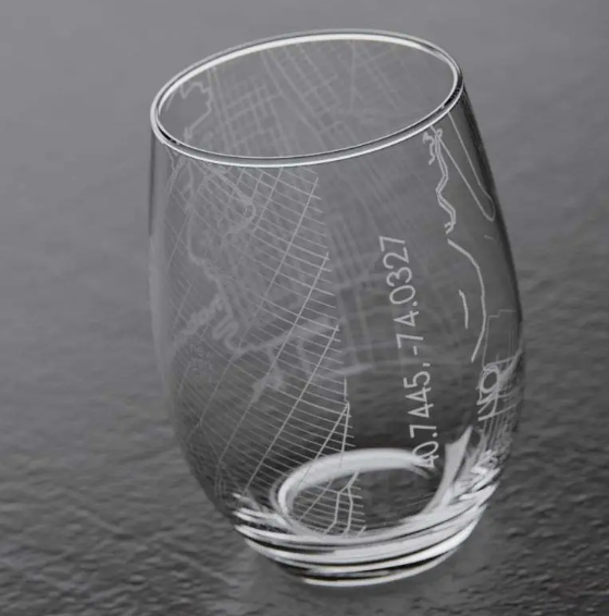 Well Told Hoboken NJ Map Stemless Wine Glass